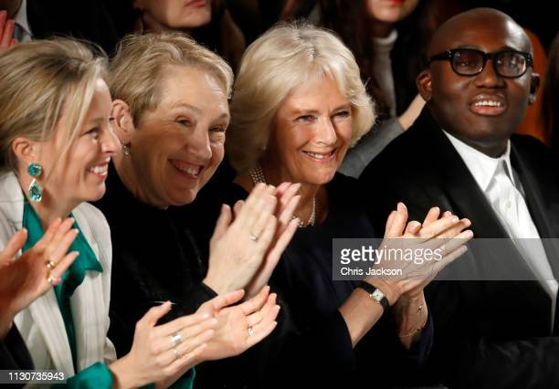 Camilla Duchess Of Cornwall and editorinchief of British Vogue magazine Edward Enninful applaud during the Bethany Williams Show as she visits London...