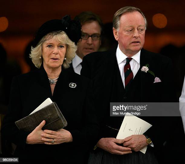 HRH Camilla Duchess of Cornwall and exhusband Andrew Parker Bowles attend a memorial service for Andrew's late wife Rosemary Parker Bowles at the...