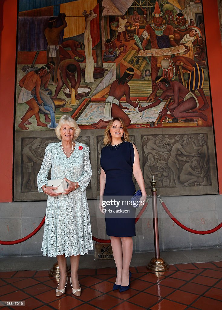 Camilla, Duchess of Cornwall and First Lady of Mexico Anjelica Rivera at the National Palace on November 3, 2014 in Mexico City,Mexico. The Royal Couple are on the second day of a four day visit to Mexico as part of a Royal tour to Colombia and Mexico.