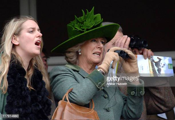 Camilla, Duchess of Cornwall and her daughter Laura Parker-Bowles attend Gold Cup Day at Cheltenham Races on March 17, 2006.