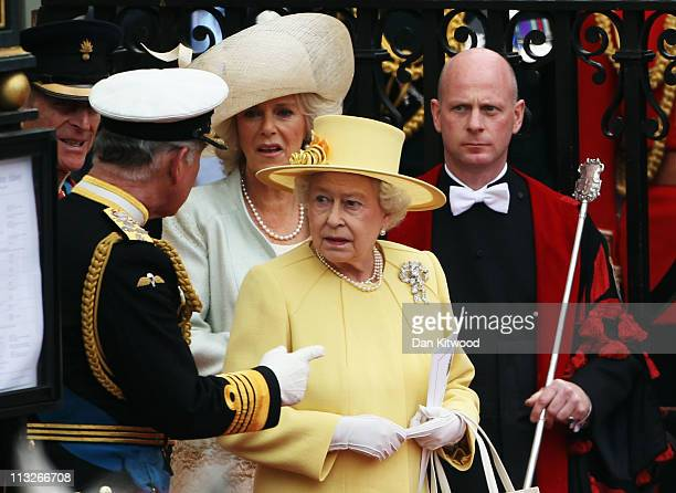 Camilla Duchess of Cornwall and HRH Prince Charles Prince of Wales and Queen Elizabeth II depart for a procession to Buckingham Palace following the...