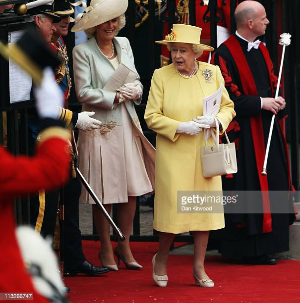 Camilla Duchess of Cornwall and HRH Prince Charles Prince of Wales Prince Philip Duke of Edinburgh and Queen Elizabeth II depart for a procession to...