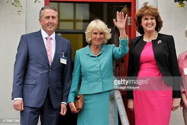 Camilla Duchess of Cornwall and Irish Tanaiste Joan Burton visit the Claddagh National School where she met with students before taking part in the...