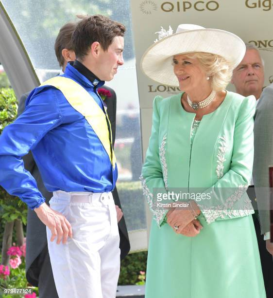 Camilla Duchess of Cornwall and jockey James Doyle attend day 2 of Royal Ascot at Ascot Racecourse on June 20 2018 in Ascot England