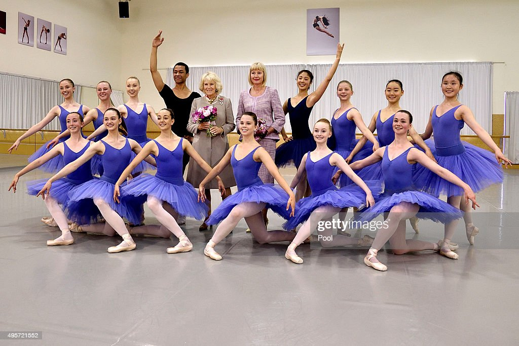 Camilla, Duchess of Cornwall and Lady Janine Mateparae, pose with a troupe of dancers during a visit to the Te Whaea National Dance Centre on November 5, 2015 in Wellington, New Zealand. The Royal couple are on a 12-day tour visiting seven regions in New Zealand and three states and one territory in Australia.