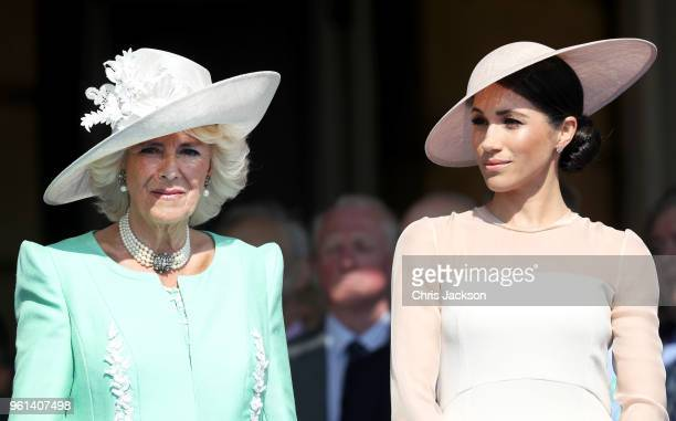 Camilla Duchess of Cornwall and Meghan Duchess of Sussex attend The Prince of Wales' 70th Birthday Patronage Celebration held at Buckingham Palace on...