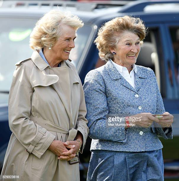 Camilla Duchess of Cornwall and Miranda Duchess of Beaufort attend the Badminton Horse Trials on May 8 2016 in Badminton England
