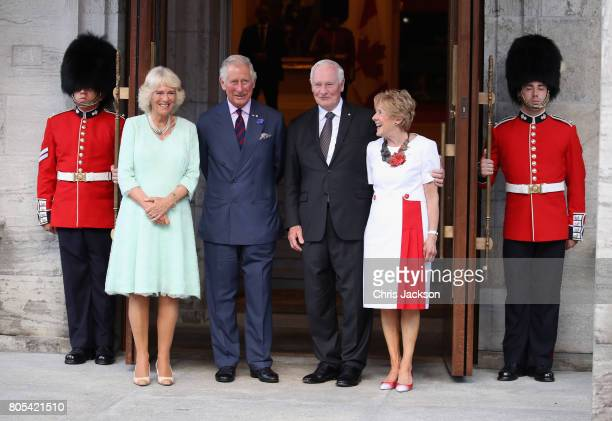 Camilla Duchess of Cornwall and Prince Charles Prince of Wales along with Govenor General Johnston and his wife Sharon Johnston take part in a...