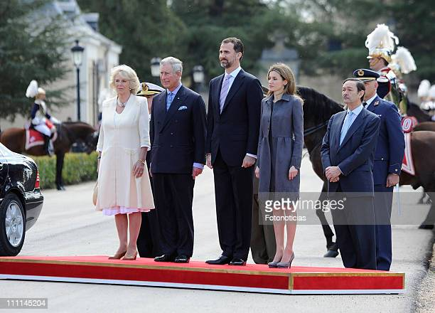 Camilla, Duchess of Cornwall and Prince Charles, Prince of Wales are received by Prince Felipe of Spain and Princess Letizia of Spain at the Palacio...