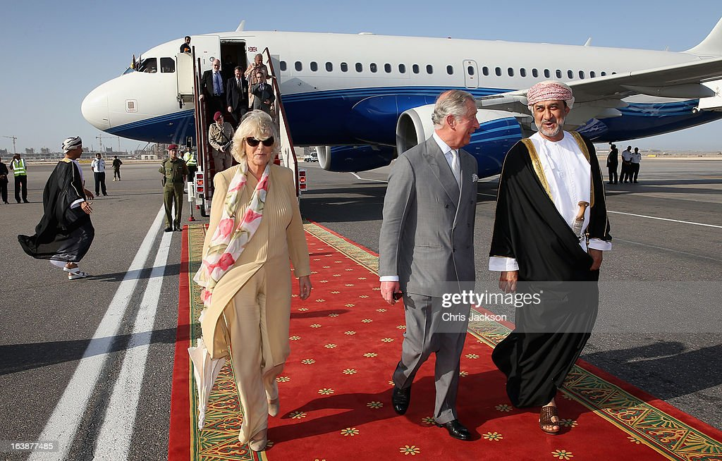 Camilla, Duchess of Cornwall and Prince Charles, Prince of Wales arrive at Oman International Airport on the seventh day of a tour of the Middle East on March 17, 2013 in Muscat, Oman. The Royal couple are on the fourth and final leg of a tour of the Middle East taking in Jordan, Qatar, Saudia Arabia and Oman.