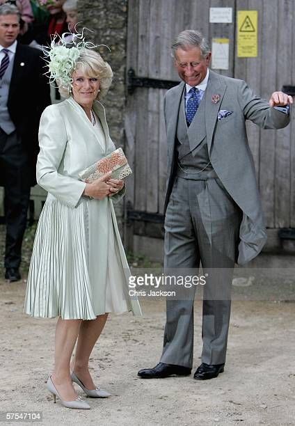 Camilla Duchess of Cornwall and Prince Charles Prince of Wales arrive for Laura Parker Bowles wedding to Harry Lopes at St Cyriac's Church Lacock on...