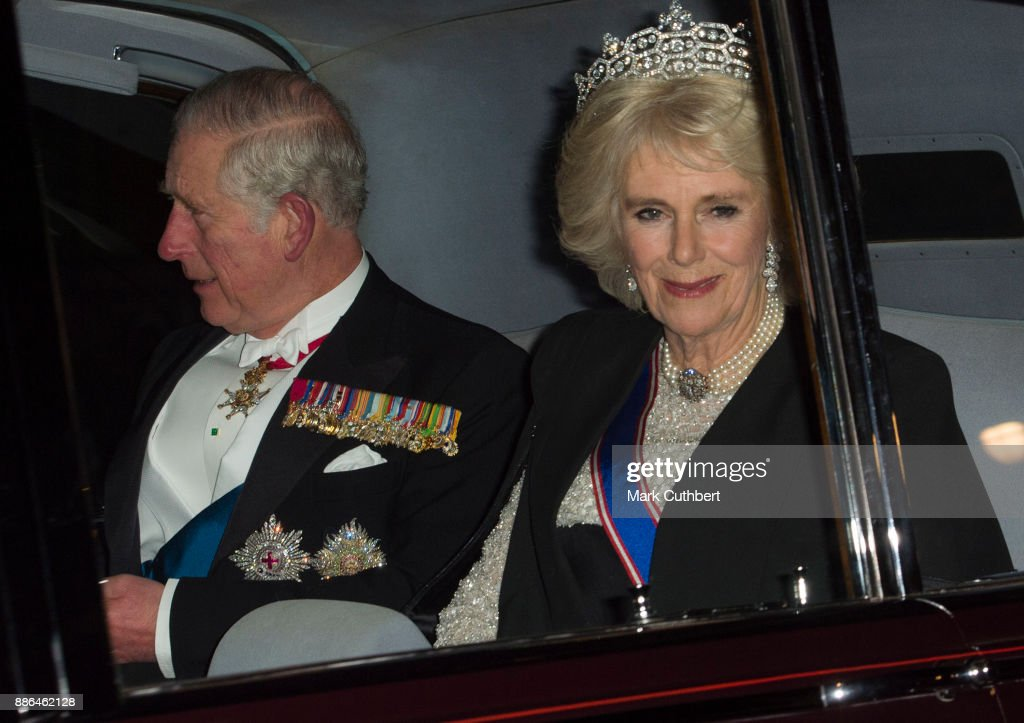 Camilla, Duchess of Cornwall and Prince Charles, Prince of Wales arrive at a Diplomatic Reception at Buckingham Palace on December 5, 2017 in London, England.