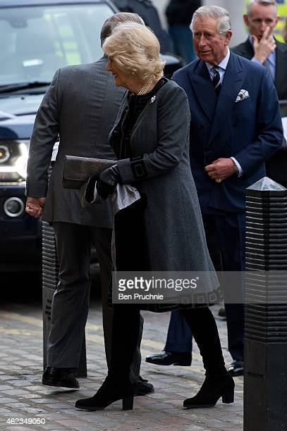 Camilla Duchess of Cornwal and Prince Charles Prince of Wales sighted arriving at the UK Holocaust Memorial Commemorative Event on January 27 2015 in...