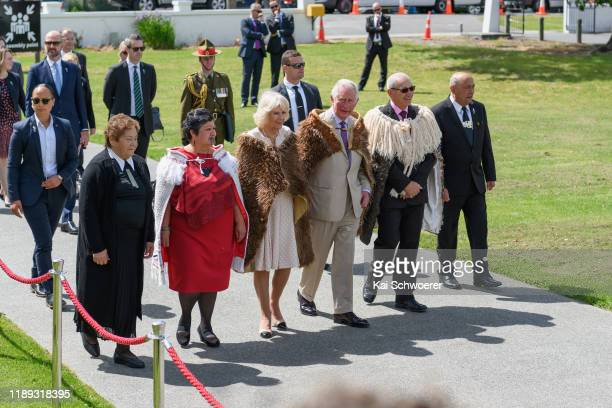 Camilla, Duchess of Cornwall and Prince Charles, Prince of Wales attend a traditional welcome ceremony at Tuahiwi Marae on November 22, 2019 in...