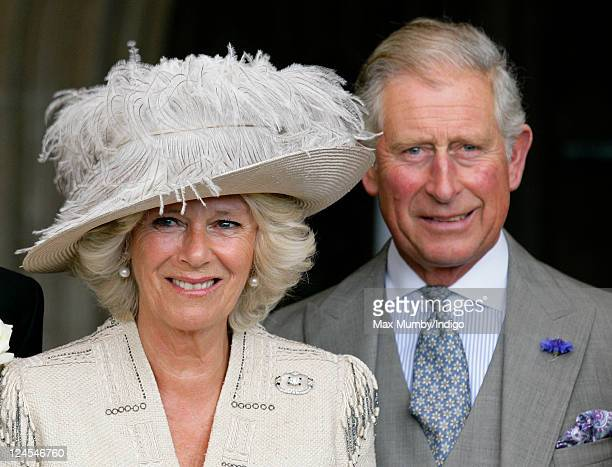 Camilla Duchess of Cornwall and Prince Charles Prince of Wales attend the wedding of Ben Elliot and MaryClare Winwood at the church of St Peter and...
