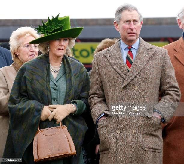 Camilla, Duchess of Cornwall and Prince Charles, Prince of Wales attend day 4 'Gold Cup Day' of the Cheltenham Festival at Cheltenham Racecourse on...