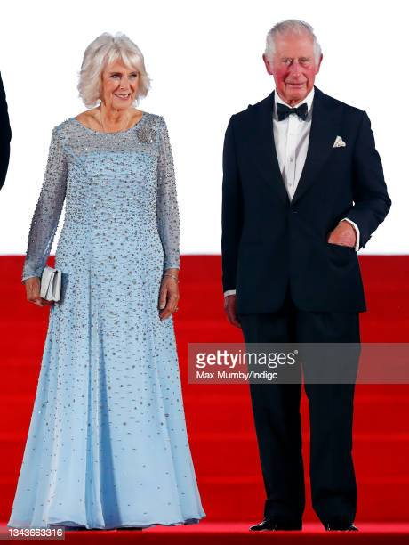 """Camilla, Duchess of Cornwall and Prince Charles, Prince of Wales attend the """"No Time To Die"""" World Premiere at the Royal Albert Hall on September 28,..."""