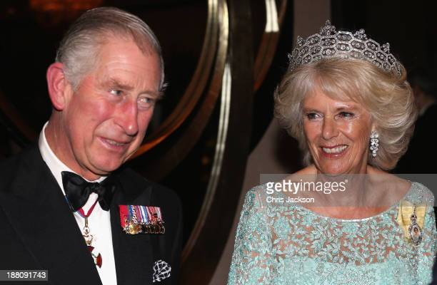 Camilla Duchess of Cornwall and Prince Charles Prince of Wales attend the CHOGM Dinner at the Cinnamon Lakeside Hotel during the Commonwealth Heads...