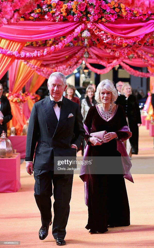Camilla, Duchess of Cornwall and Prince Charles, Prince of Wales attend The Royal Film Performance and World Premiere of 'The Second Best Exotic Marigold Hotel' at Odeon Leicester Square on February 17, 2015 in London, England.