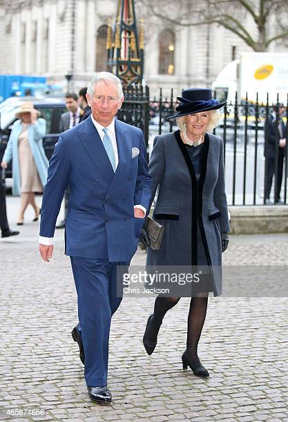Camilla Duchess of Cornwall and Prince Charles Prince of Wales attend the Observance for Commonwealth Day Service At Westminster Abbey on March 9...