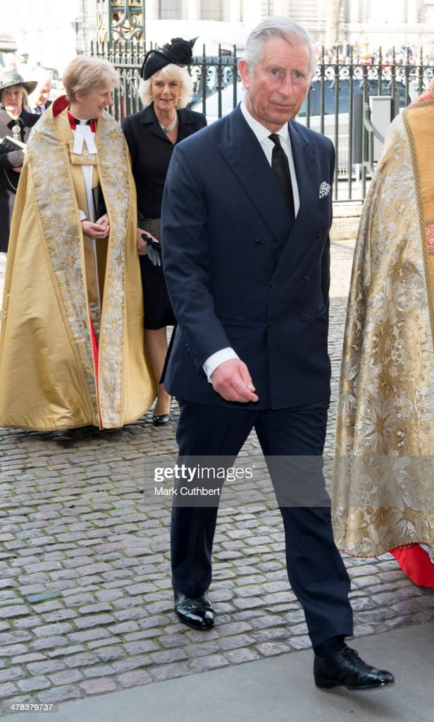 Camilla, Duchess of Cornwall and Prince Charles, Prince of Wales attend a memorial service for Sir David Frost at Westminster Abbey on March 13, 2014 in London, England.