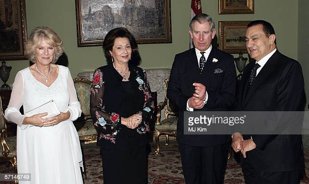 Camilla, Duchess of Cornwall and Prince Charles, Prince of Wales attend presidential dinner with president of Egypt Hosni Mubarak and his wife...