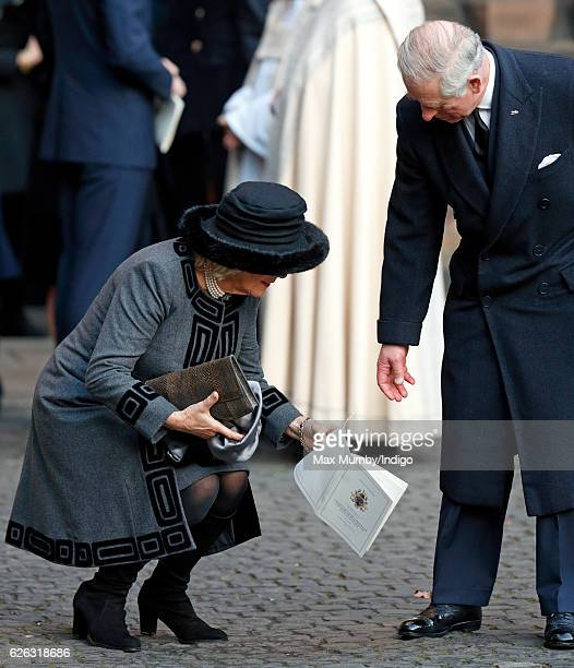 Camilla Duchess of Cornwall and Prince Charles Prince of Wales attend a Memorial Service for Gerald Grosvenor 6th Duke of Westminster at Chester...