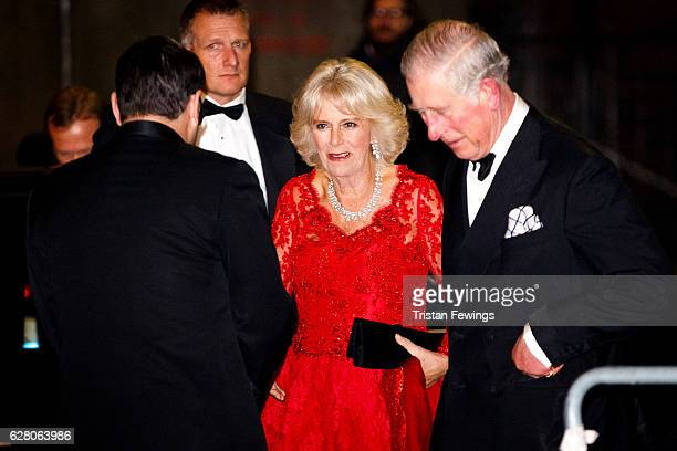 Camilla Duchess of Cornwall and Prince Charles Prince of Wales attend the annual Royal Variety Performance at Eventim Apollo on December 6 2016 in...