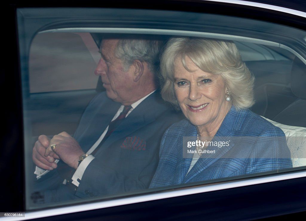 Camilla, Duchess of Cornwall and Prince Charles, Prince of Wales attend the annual Buckingham Palace Christmas lunch hosted by The Queen at Buckingham Palace on December 20, 2016 in London, England.