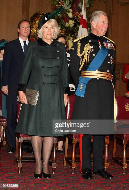Camilla, Duchess of Cornwall and Prince Charles, Prince of Wales attend a reception at London Guildhall after a Service of Commemoration to mark the...