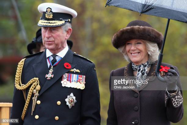 Camilla Duchess of Cornwall and Prince Charles Prince of Wales attend a Navy Centennial Event at Duntza Head HMC Dockyard Esquimalt on November 9...