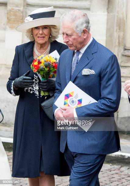 Camilla Duchess of Cornwall and Prince Charles Prince of Wales attend the 2018 Commonwealth Day service at Westminster Abbey on March 12 2018 in...