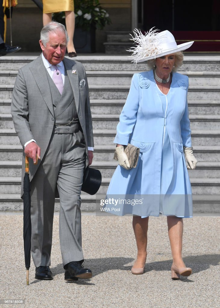 Camilla, Duchess of Cornwall and Prince Charles, Prince of Wales attend a Buckingham Palace Garden Party at Buckingham Palace on June 5, 2018 in London, England.