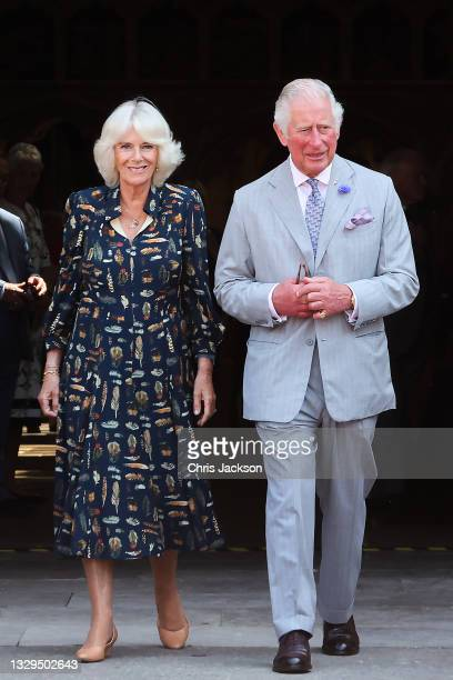 Camilla, Duchess of Cornwall and Prince Charles, Prince of Wales depart Exeter Cathedral on July 19, 2021 in Exeter, United Kingdom. Founded in 1050,...