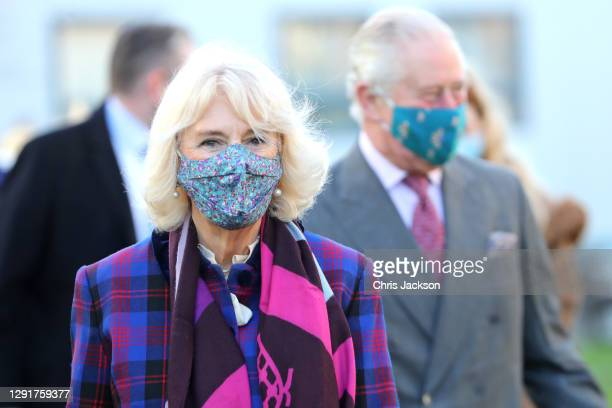 Camilla, Duchess of Cornwall and Prince Charles, Prince of Wales during a visit to Gloucestershire Vaccination Centre at Gloucestershire Royal...