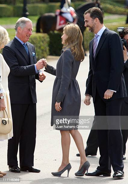 Camilla Duchess of Cornwall and Prince Charles Prince of Wales greet Princess Letizia of Spain and Prince Felipe of Spain at the Palacio Del Pardo on...