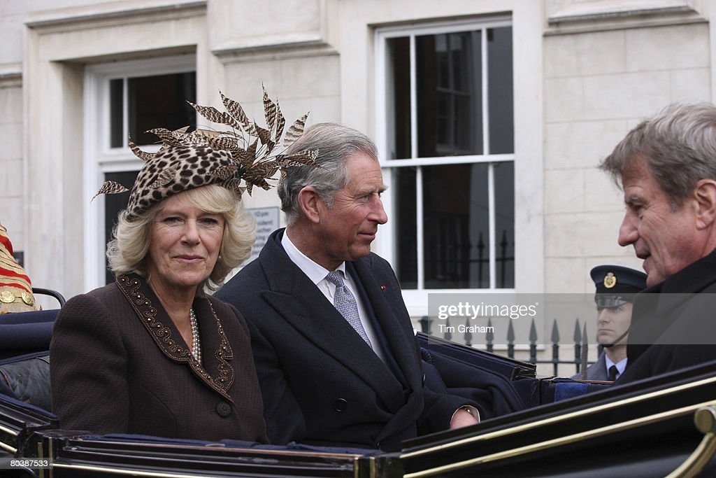 Camilla, Duchess of Cornwall and Prince Charles, Prince of Wales in a carriage procession to Windsor Castle for the welcome ceremony on the first day of the French President's State Visit on March 26, 2008 in Windsor, England.