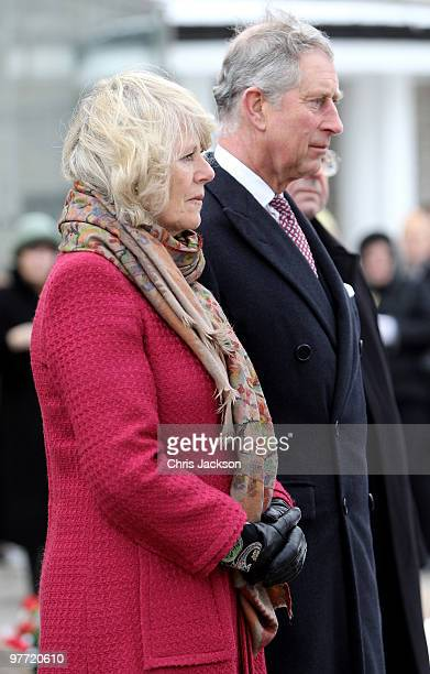 Camilla Duchess of Cornwall and Prince Charles Prince of Wales lay a wreath at the Popieluszko Monument as they visit St Stanislaw Kostka Parish...