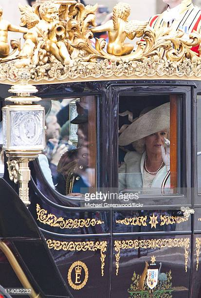 Camilla Duchess of Cornwall and Prince Charles Prince of Wales leave the Royal Wedding of Prince William Duke of Cambridge and Catherine Duchess of...
