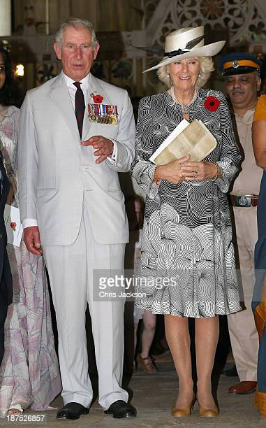 Camilla Duchess of Cornwall and Prince Charles Prince of Wales leave a Remembrance Day Service at the Afghan Church on Day 5 of an official visit to...