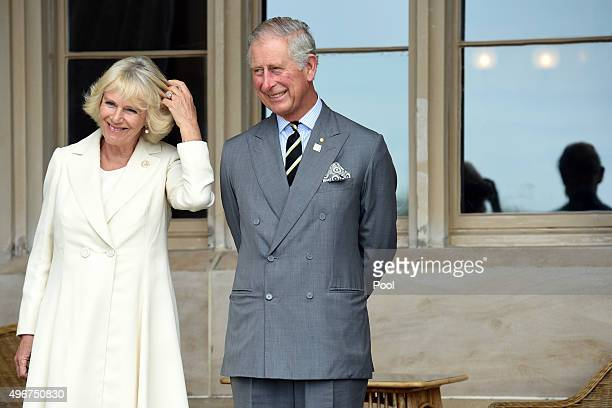 Camilla, Duchess of Cornwall and Prince Charles, Prince of Wales listen to speeches during a reception at Government House on November 12, 2015 in...