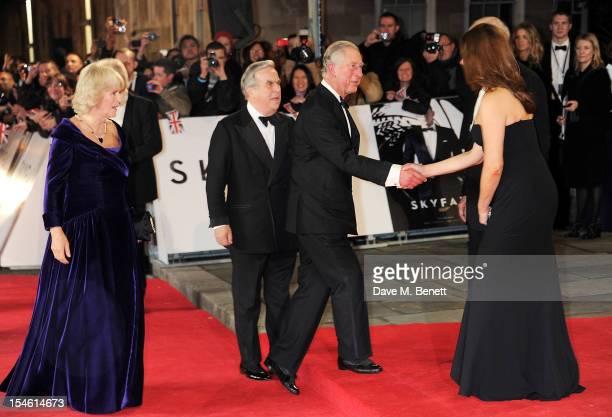 Camilla Duchess of Cornwall and Prince Charles Prince of Wales meet producers Michael G Wilson and Barbara Broccoli at the Royal World Premiere of...