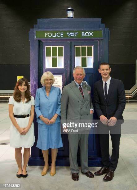 Camilla Duchess of Cornwall and Prince Charles Prince of Wales meet current stars of Doctor Who Matt Smith and JennaLouise Coleman during their visit...