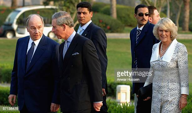 Camilla Duchess of Cornwall and Prince Charles Prince of Wales meet His Highness the Aga Khan when they attend an evening reception on the first day...