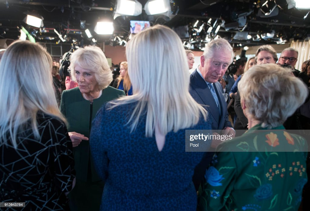 Camilla, Duchess of Cornwall and Prince Charles, Prince of Wales meet the cast and crew during a visit to ITV's 'This Morning' to celebrate the 90th anniversary of the Royal Television Society at London Television Centre on January 31, 2018 in London, United Kingdom.