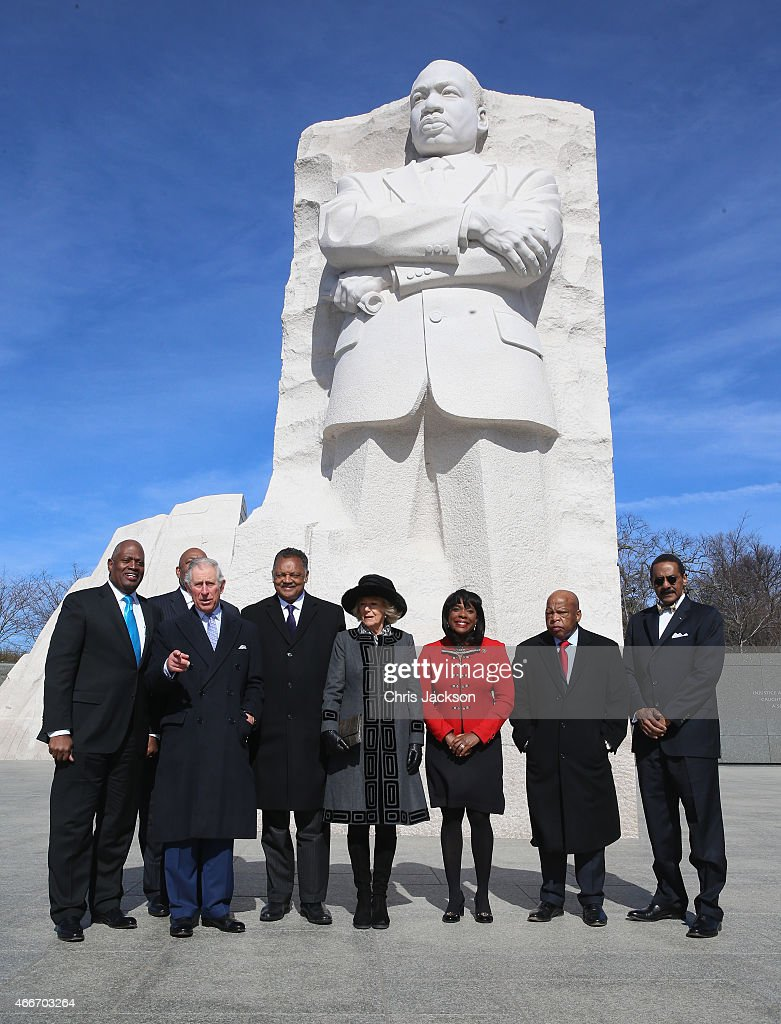 Camilla, Duchess of Cornwall and Prince Charles, Prince of Wales pose with the Reverand Jesse Jackson as they visit the Martin Luther King, Jr. Memorial on the second day of a visit to the United States on March 18, 2015 in Washington, DC. The Prince and Duchess are in Washington as part of a Four day visit to the United States.