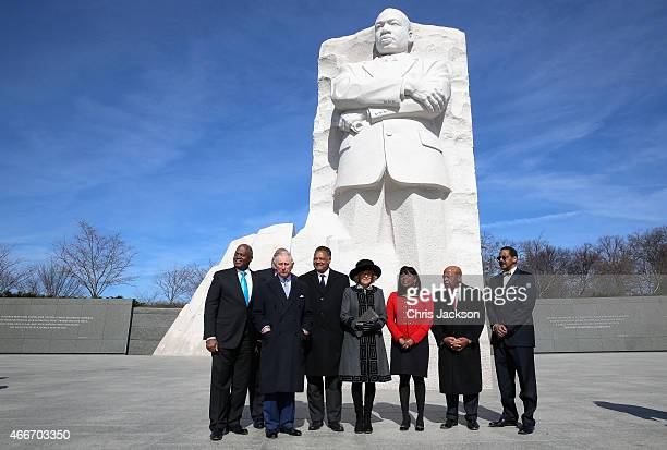 Camilla Duchess of Cornwall and Prince Charles Prince of Wales pose with the Reverand Jesse Jackson as they visit the Martin Luther King Jr Memorial...