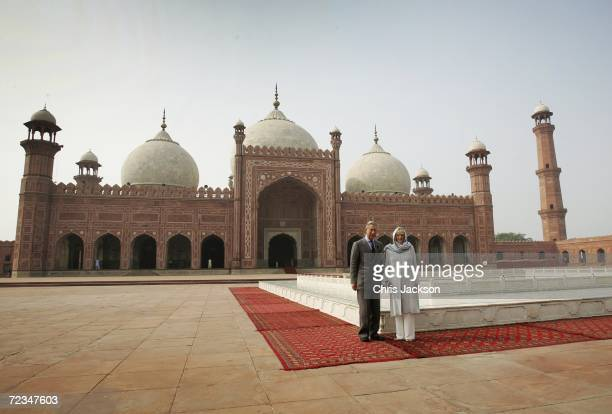 Camilla, Duchess of Cornwall and Prince Charles, Prince of Wales pose for a photograph in front of Badshai Mosque in Lahore on November 02, 2006 in...