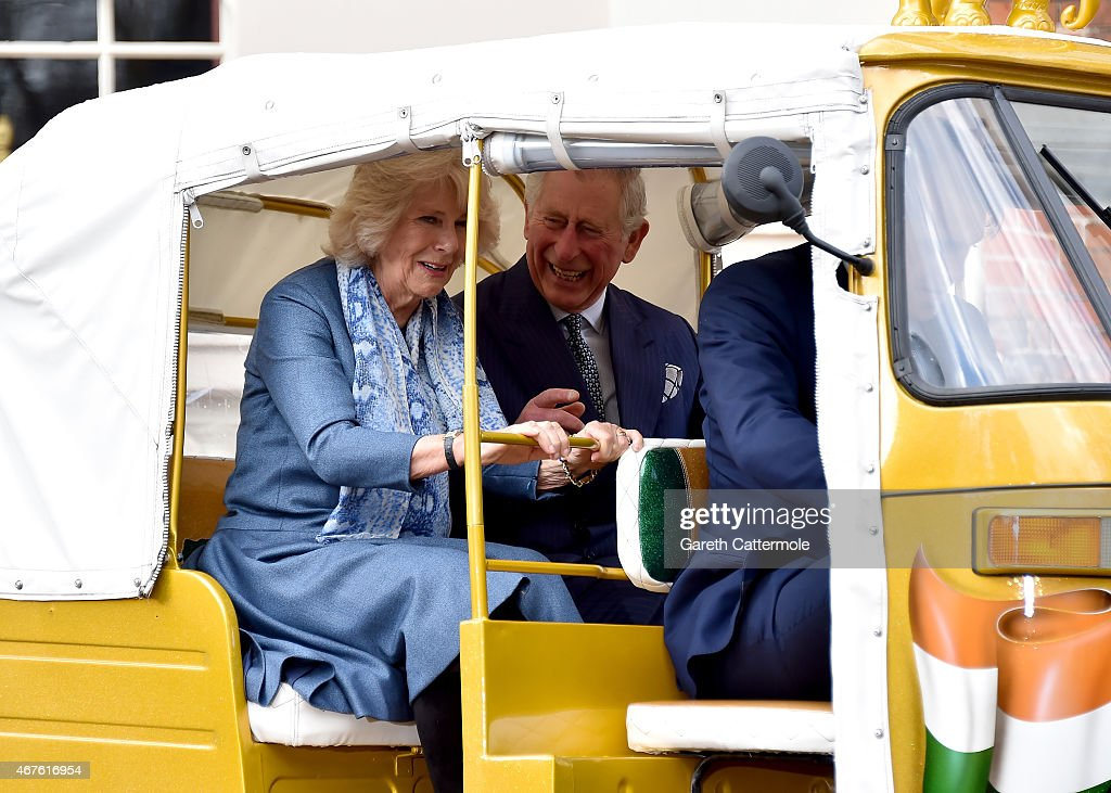 Camilla, Duchess of Cornwall and Prince Charles, Prince of Wales ride in a rickshaw at Clarence House on March 26, 2015 in London, England. In November 2015 a fleet of thirty rickshaws will journey 500km across Madhya Pradesh, India, in a race to save Asias elephants from extinction.
