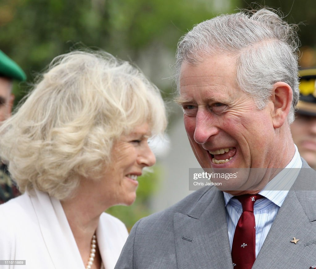 Camilla, Duchess of Cornwall and Prince Charles, Prince of Wales share a laugh as they visit the 1st Brigade Infanterie Parachutiste on day one of a three day visit to Morocco on April 4, 2011 in Rabat, Morocco. Camilla, Duchess of Cornwall, and Prince Charles, Prince of Wales, are on a three day trip to Morocco as part of a tour to Portugal, Spain and Morroco.